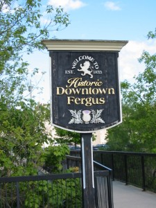 """Sign saying """"Welcome to Historic Downtown Fergus - est. 1833"""""""