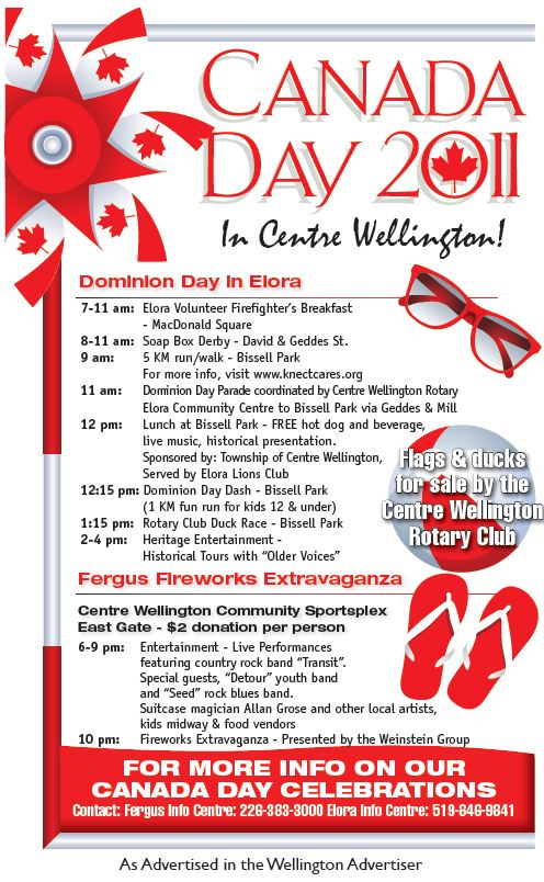 Canada Day / Dominion Day Program for Fergus and Elora 2011