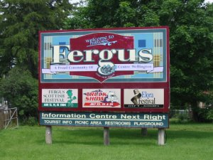 Large sign posting upcoming events in Fergus, Ontario, Canada