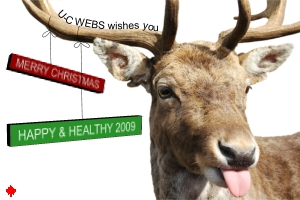 U-C WEBS wishes you a Merry Christmas, and a happy & healthy 2009 | Image of a deer sticking its tongue out.